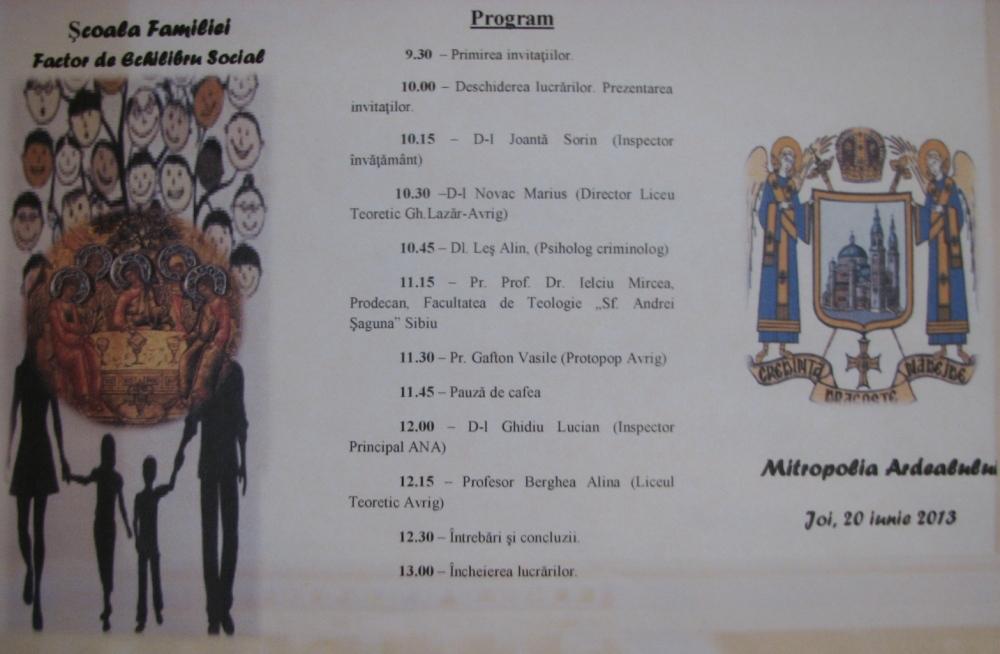 program COLOCVIU FAMILIE, SB, 2013