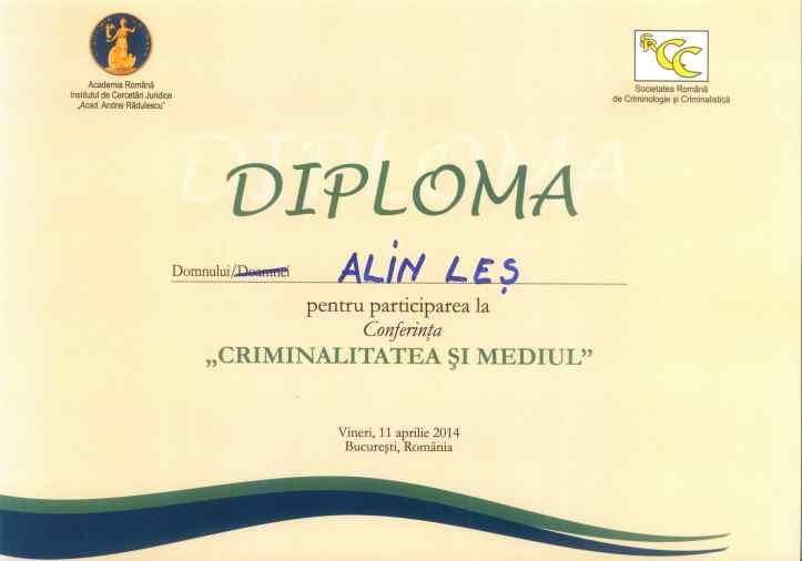Alin Les, Diploma Academia Romana si SRCC, 2014