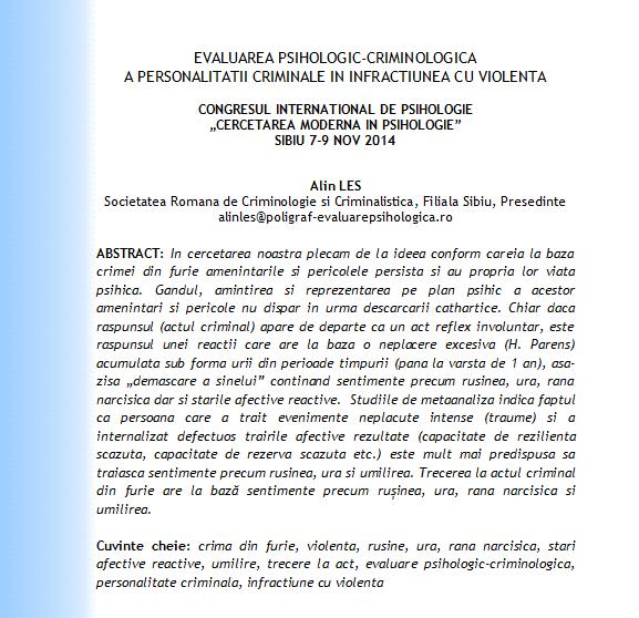 Congres International Psihologie Sibiu 2014, Alin Les, psiholog, expert criminolog, expertiza psiho-criminologica a personaltatii criminale in crima cu furie