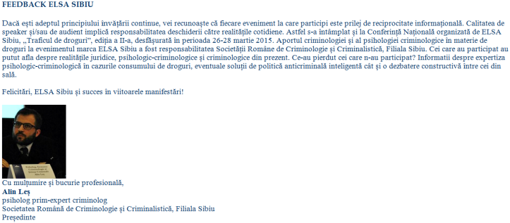 Feedback pt ELSA Sibiu, 26-28 martie 2015